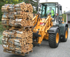 Pallets of firewood on top of each other