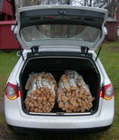 Firewood bundles in trunk of car 2