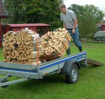 Loading firewood on trailer 4
